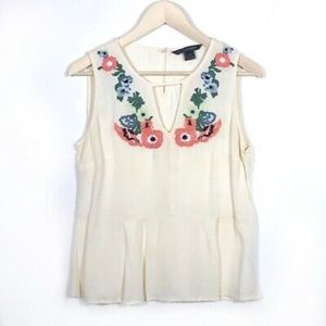 French Connection floral appliqué blouse